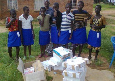 Emazinyeni girls with school books